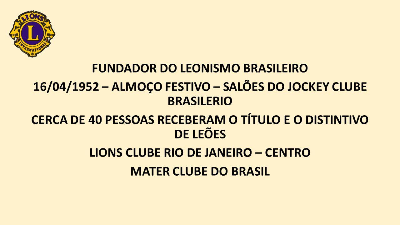 FUNDADOR DO LEONISMO BRASILEIRO 16/04/1952 – ALMOÇO FESTIVO – SALÕES DO JOCKEY CLUBE BRASILERIO CERCA DE 40 PESSOAS RECEBERAM O TÍTULO E O DISTINTIVO DE LEÕES LIONS CLUBE RIO DE JANEIRO – CENTRO MATER CLUBE DO BRASIL