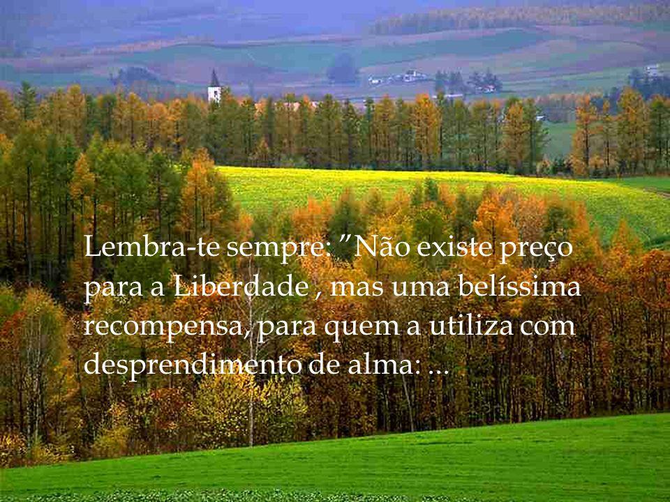Lembra-te sempre: Não existe preço para a Liberdade , mas uma belíssima recompensa, para quem a utiliza com desprendimento de alma: ...