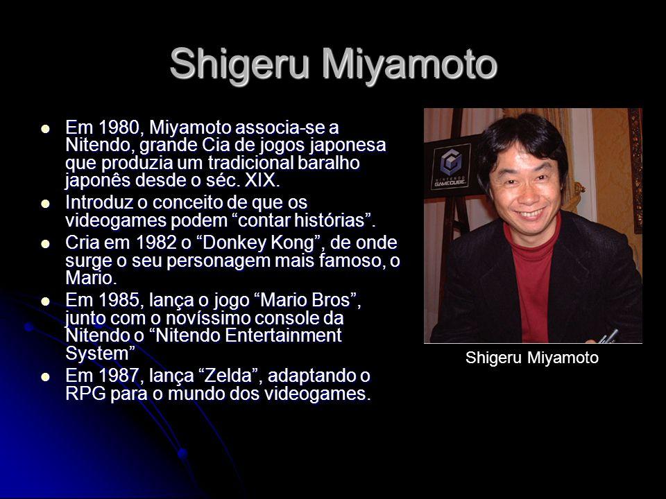 Shigeru Miyamoto Em 1980, Miyamoto associa-se a Nitendo, grande Cia de jogos japonesa que produzia um tradicional baralho japonês desde o séc. XIX.