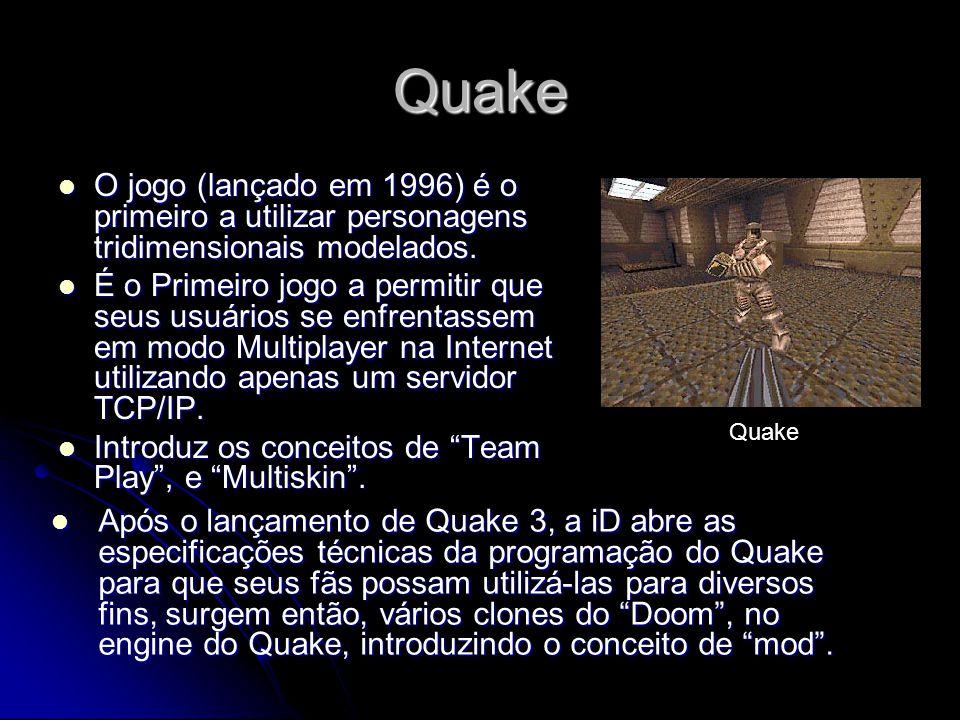 Quake O jogo (lançado em 1996) é o primeiro a utilizar personagens tridimensionais modelados.