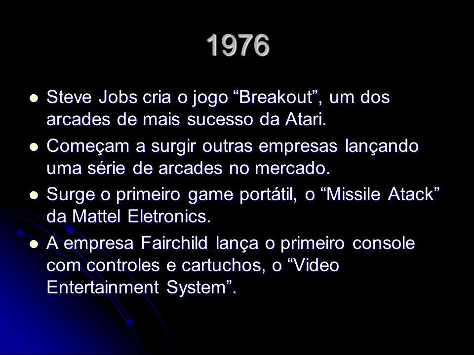 1976 Steve Jobs cria o jogo Breakout , um dos arcades de mais sucesso da Atari.