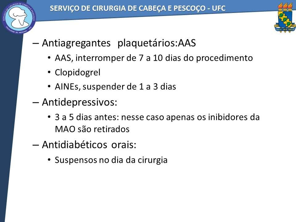Antiagregantes plaquetários:AAS