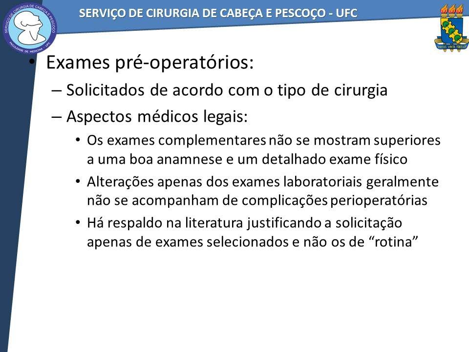 Exames pré-operatórios: