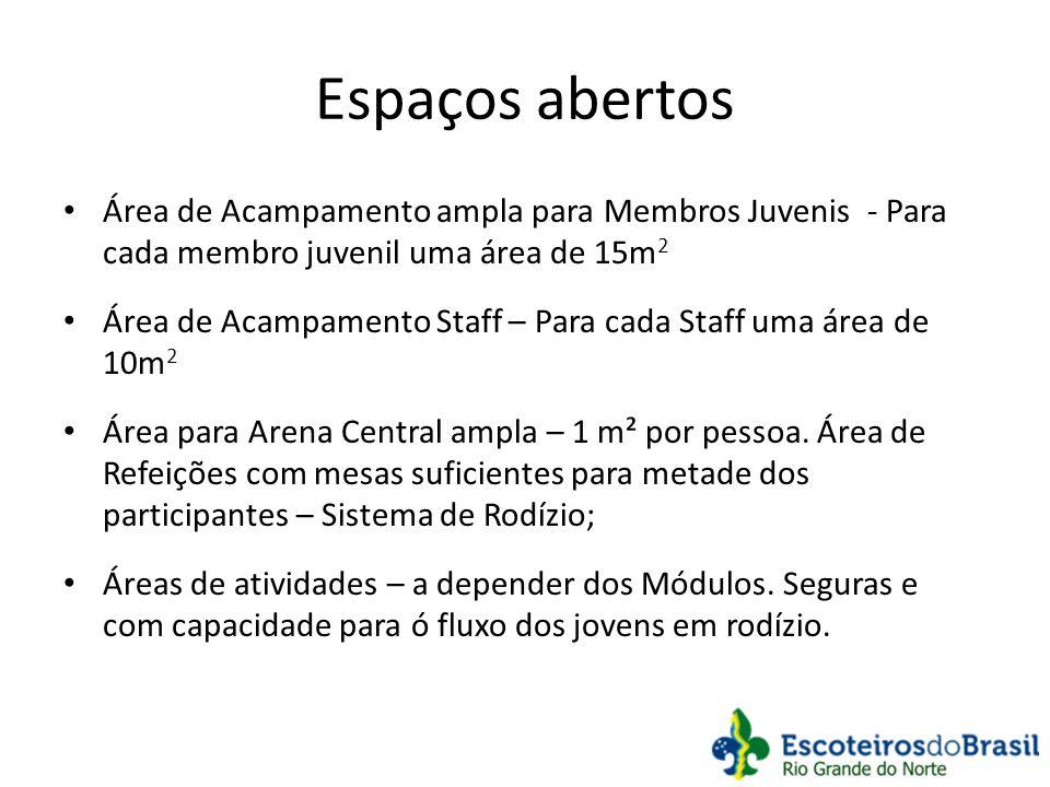 Espaços abertos Área de Acampamento ampla para Membros Juvenis - Para cada membro juvenil uma área de 15m2.