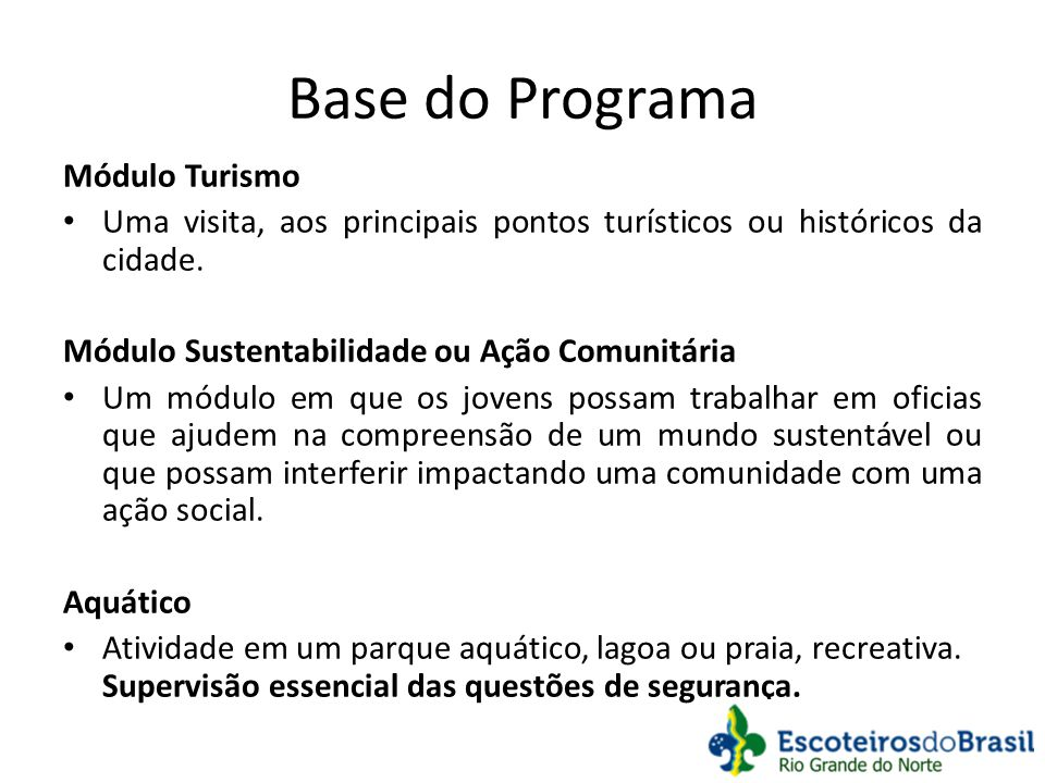 Base do Programa Módulo Turismo