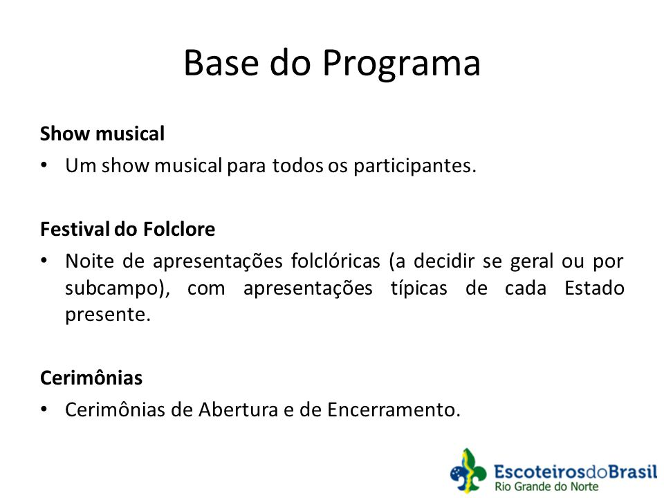 Base do Programa Show musical