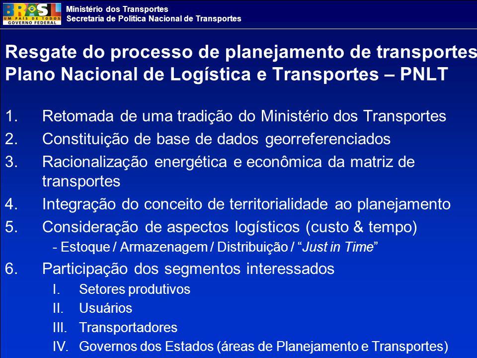 Resgate do processo de planejamento de transportes Plano Nacional de Logística e Transportes – PNLT