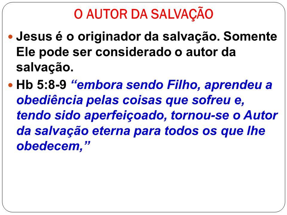 O AUTOR DA SALVAÇÃO Jesus é o originador da salvação. Somente Ele pode ser considerado o autor da salvação.