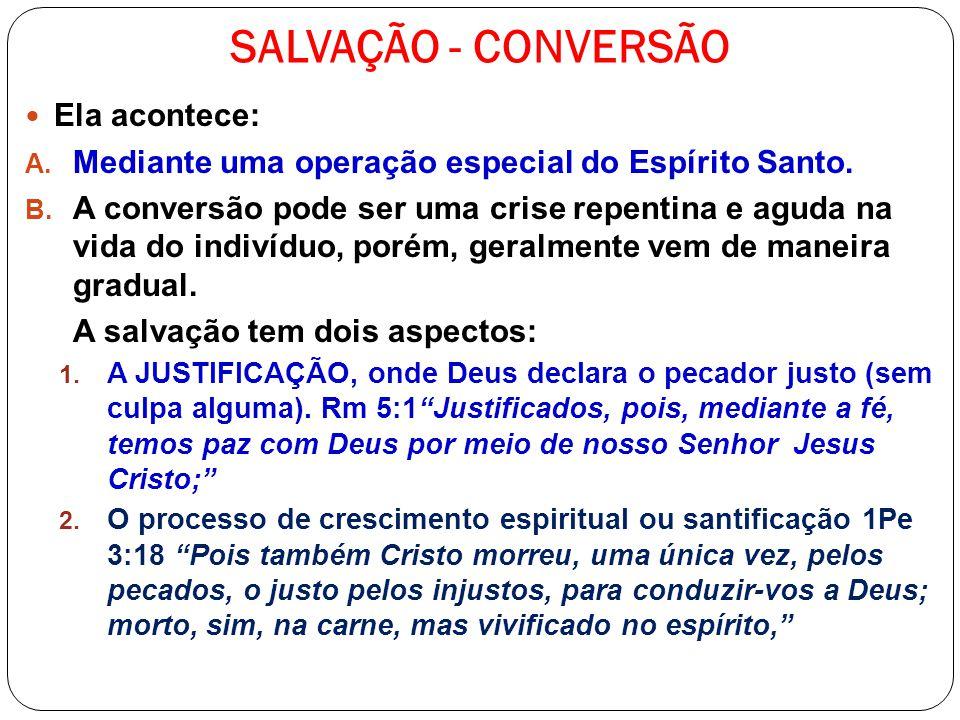 SALVAÇÃO - CONVERSÃO Ela acontece: