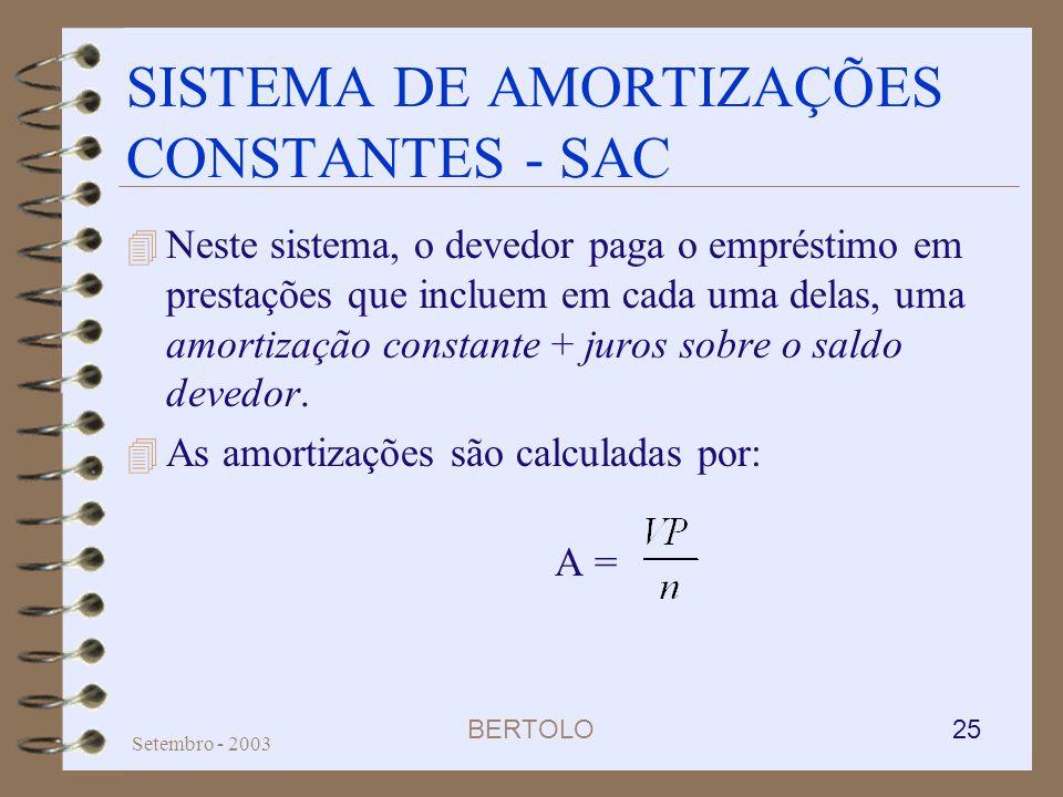 SISTEMA DE AMORTIZAÇÕES CONSTANTES - SAC