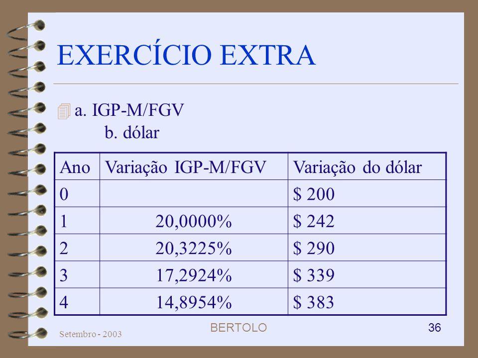 EXERCÍCIO EXTRA a. IGP-M/FGV b. dólar Ano Variação IGP-M/FGV