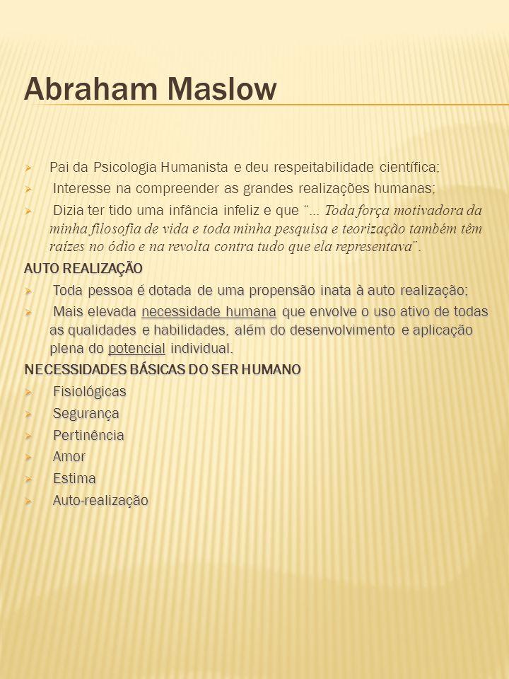 Abraham Maslow Pai da Psicologia Humanista e deu respeitabilidade científica; Interesse na compreender as grandes realizações humanas;