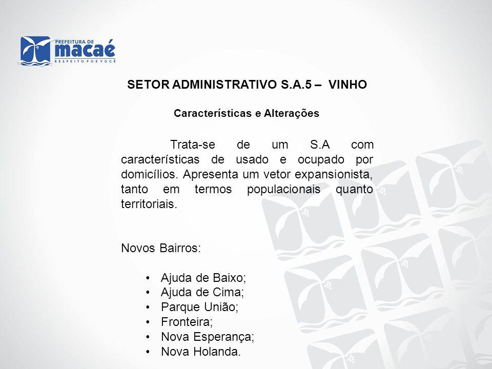 SETOR ADMINISTRATIVO S.A.5 – VINHO Características e Alterações