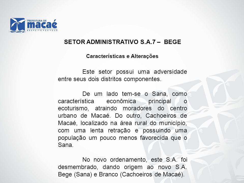 SETOR ADMINISTRATIVO S.A.7 – BEGE Características e Alterações
