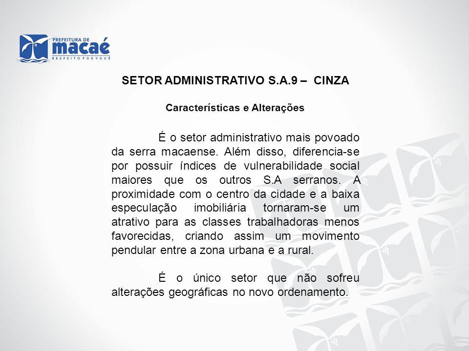 SETOR ADMINISTRATIVO S.A.9 – CINZA Características e Alterações