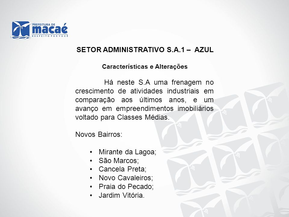 SETOR ADMINISTRATIVO S.A.1 – AZUL Características e Alterações