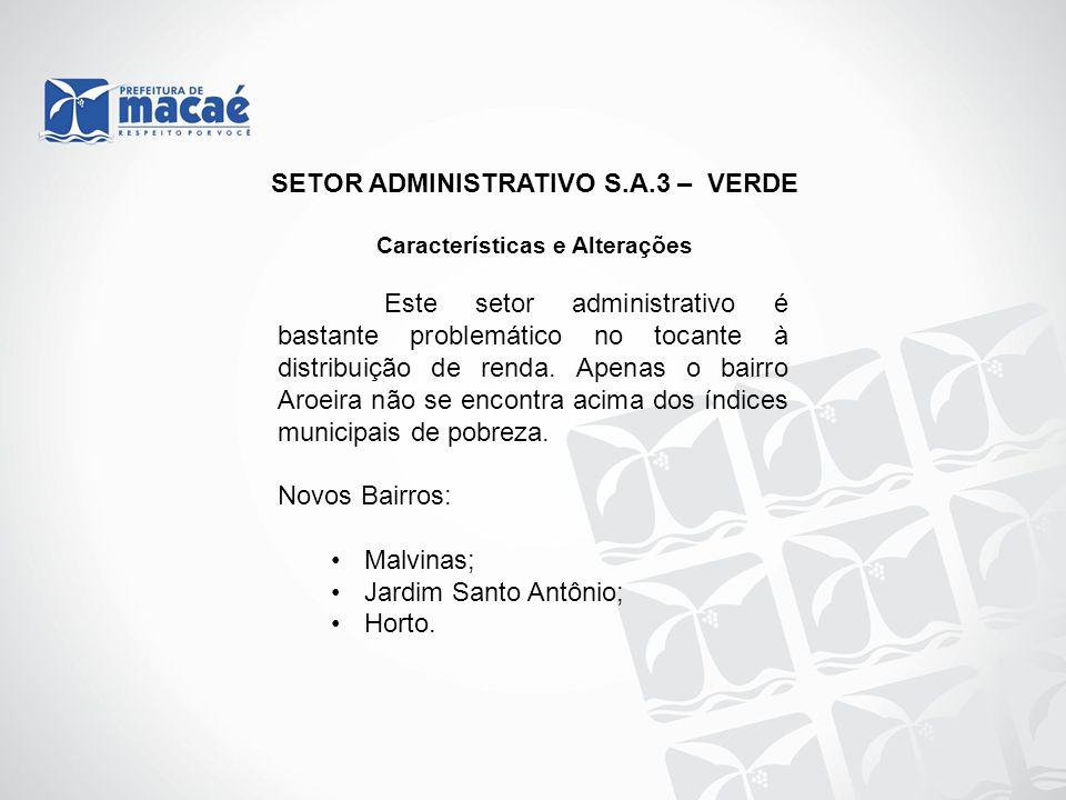 SETOR ADMINISTRATIVO S.A.3 – VERDE Características e Alterações