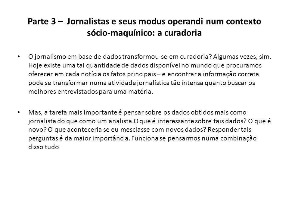 Parte 3 – Jornalistas e seus modus operandi num contexto sócio-maquínico: a curadoria
