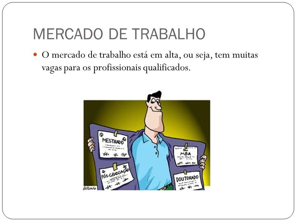 MERCADO DE TRABALHO O mercado de trabalho está em alta, ou seja, tem muitas vagas para os profissionais qualificados.