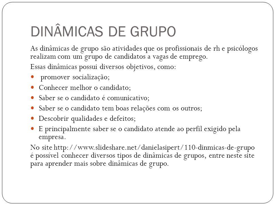 DINÂMICAS DE GRUPO