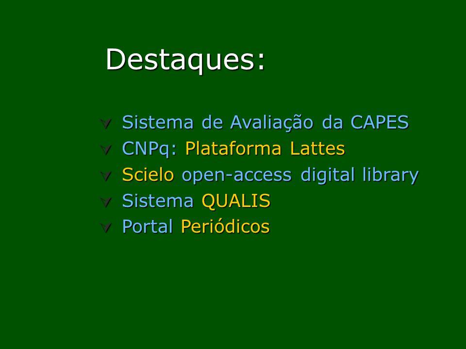 Destaques: Sistema de Avaliação da CAPES CNPq: Plataforma Lattes