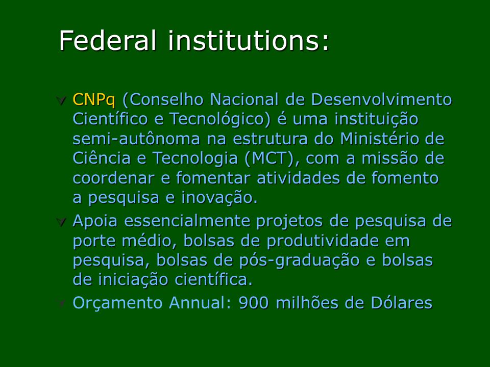 Federal institutions: