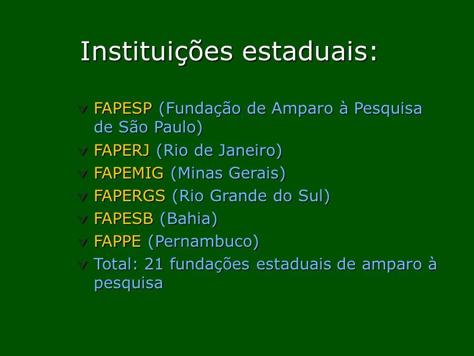 Instituições estaduais: