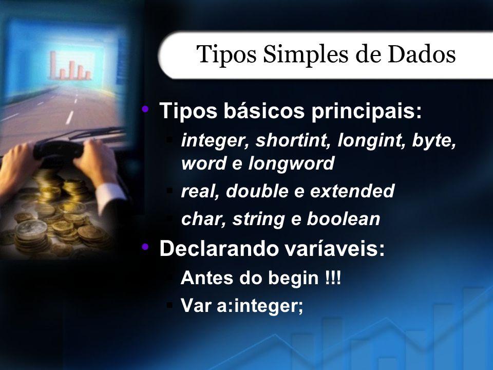Tipos Simples de Dados Tipos básicos principais: Declarando varíaveis: