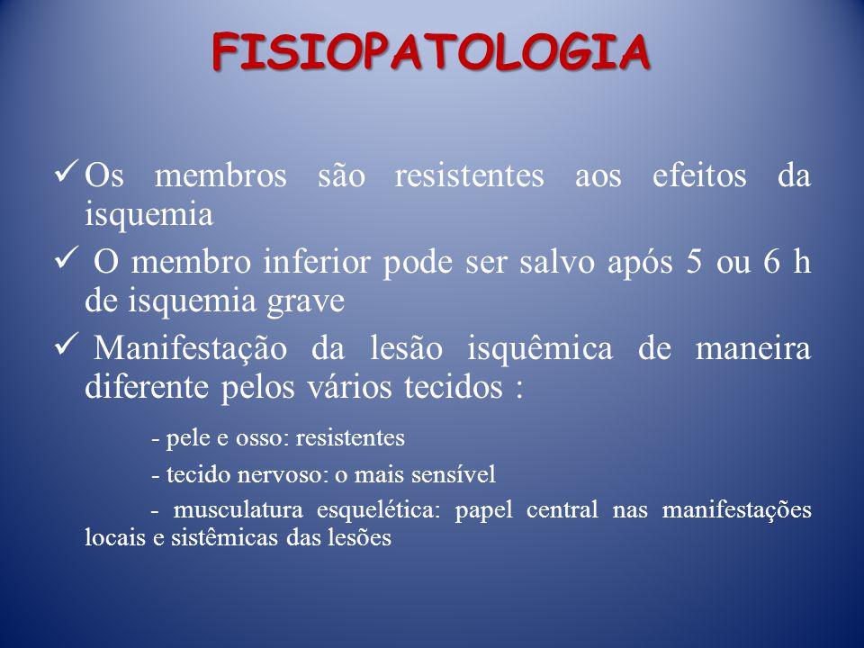 FISIOPATOLOGIA Os membros são resistentes aos efeitos da isquemia