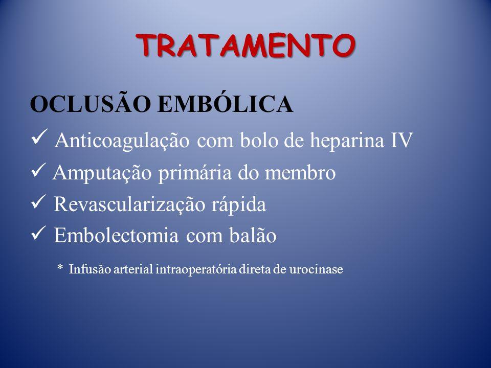 TRATAMENTO OCLUSÃO EMBÓLICA Anticoagulação com bolo de heparina IV