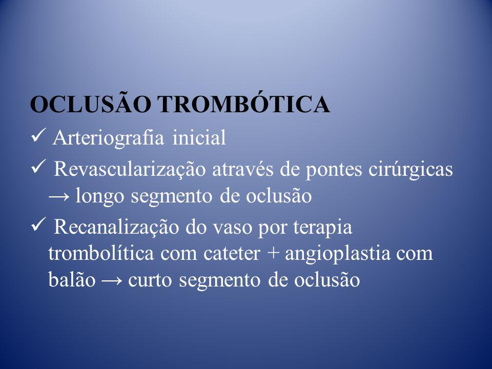 OCLUSÃO TROMBÓTICA Arteriografia inicial