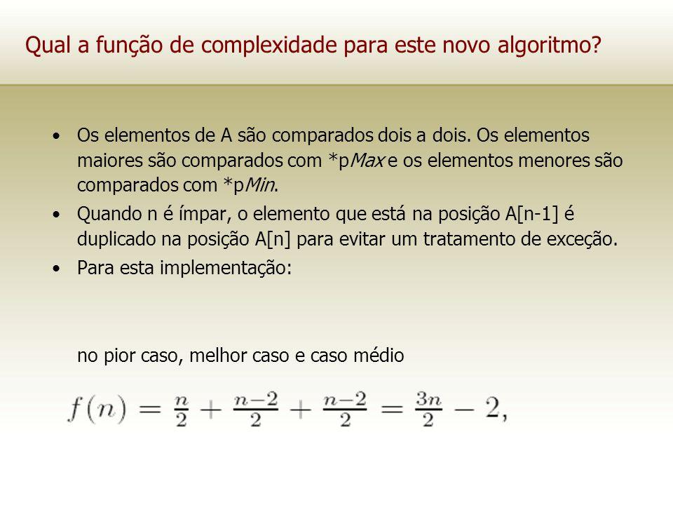 Qual a função de complexidade para este novo algoritmo