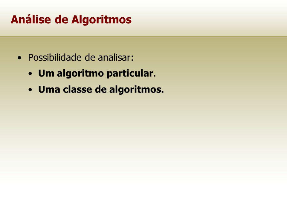 Análise de Algoritmos Possibilidade de analisar: