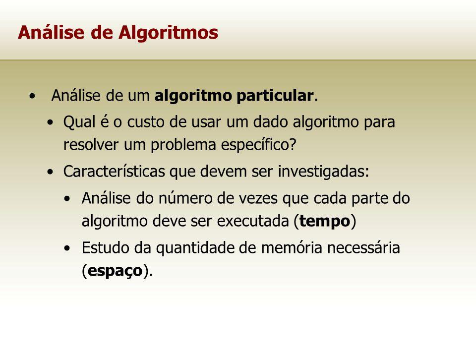 Análise de Algoritmos Análise de um algoritmo particular.