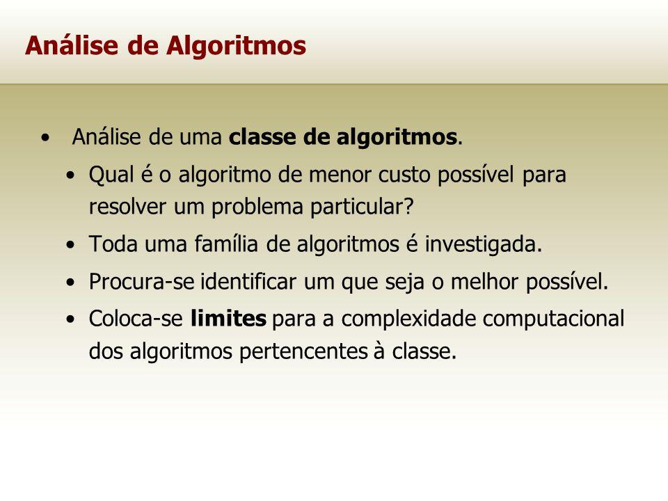 Análise de Algoritmos Análise de uma classe de algoritmos.