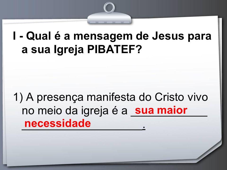 I - Qual é a mensagem de Jesus para a sua Igreja PIBATEF