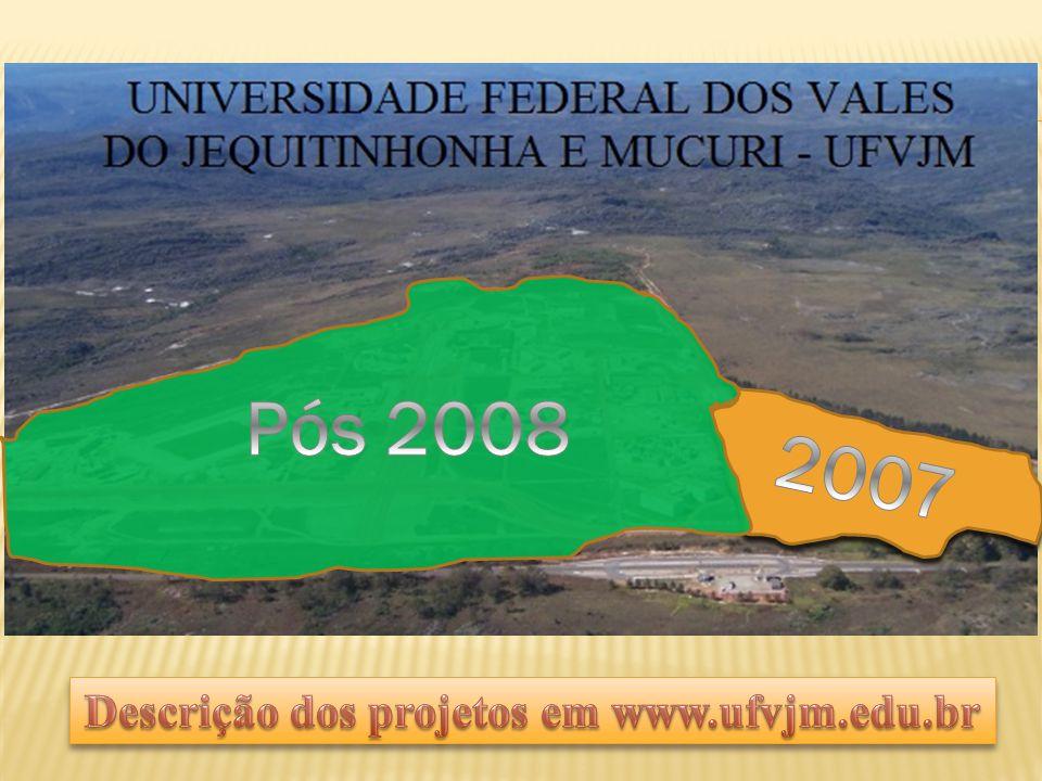 Descrição dos projetos em www.ufvjm.edu.br