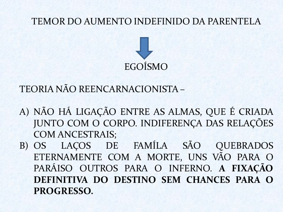 TEMOR DO AUMENTO INDEFINIDO DA PARENTELA