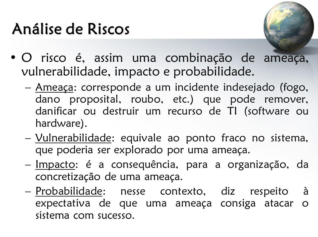 Análise de Riscos O risco é, assim uma combinação de ameaça, vulnerabilidade, impacto e probabilidade.