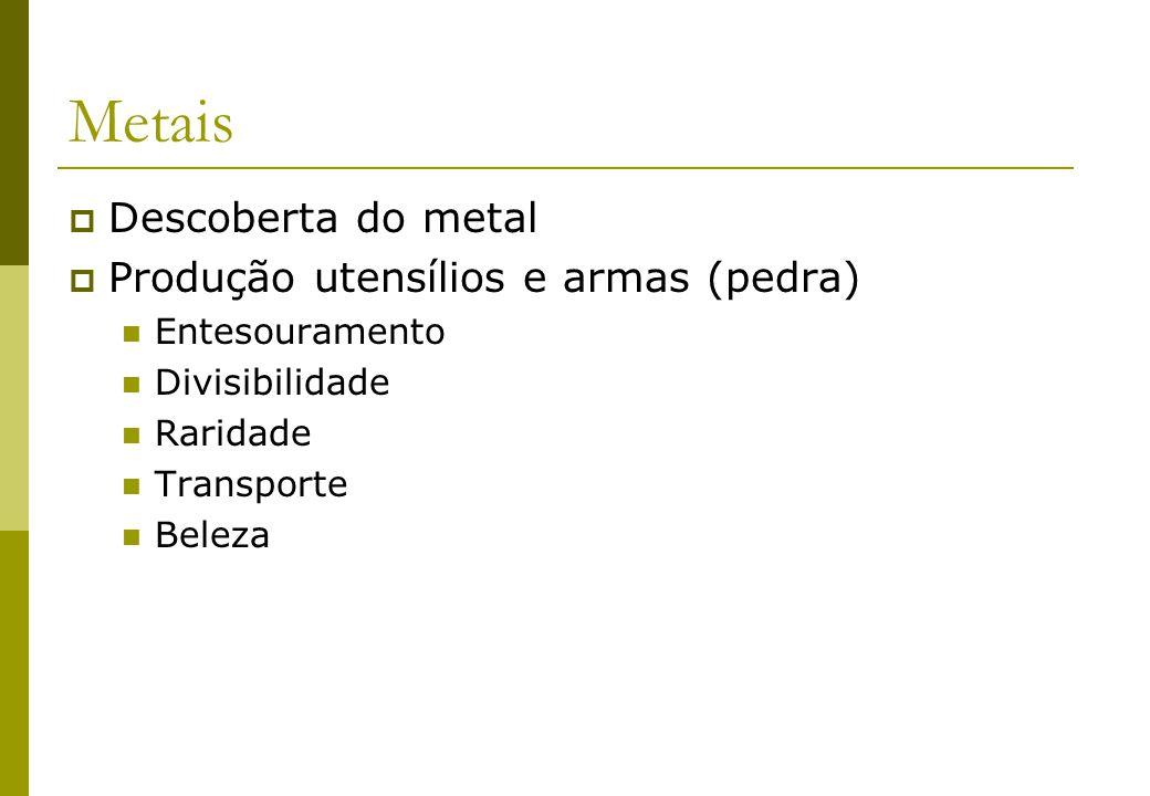Metais Descoberta do metal Produção utensílios e armas (pedra)
