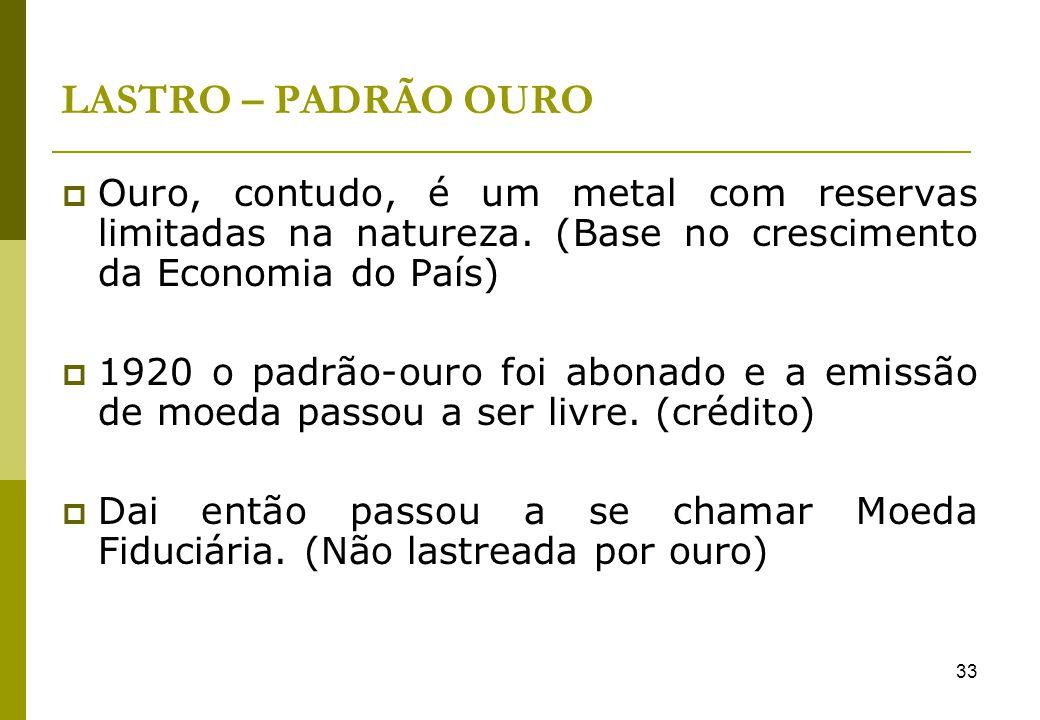 LASTRO – PADRÃO OURO Ouro, contudo, é um metal com reservas limitadas na natureza. (Base no crescimento da Economia do País)