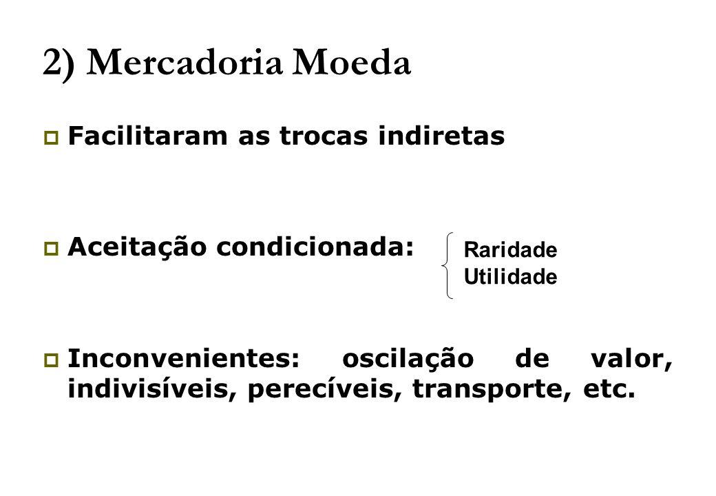 2) Mercadoria Moeda Facilitaram as trocas indiretas