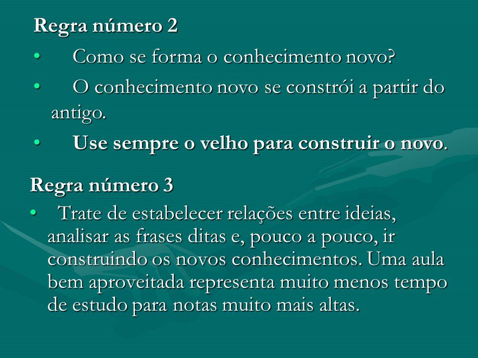Regra número 2 Como se forma o conhecimento novo O conhecimento novo se constrói a partir do antigo.