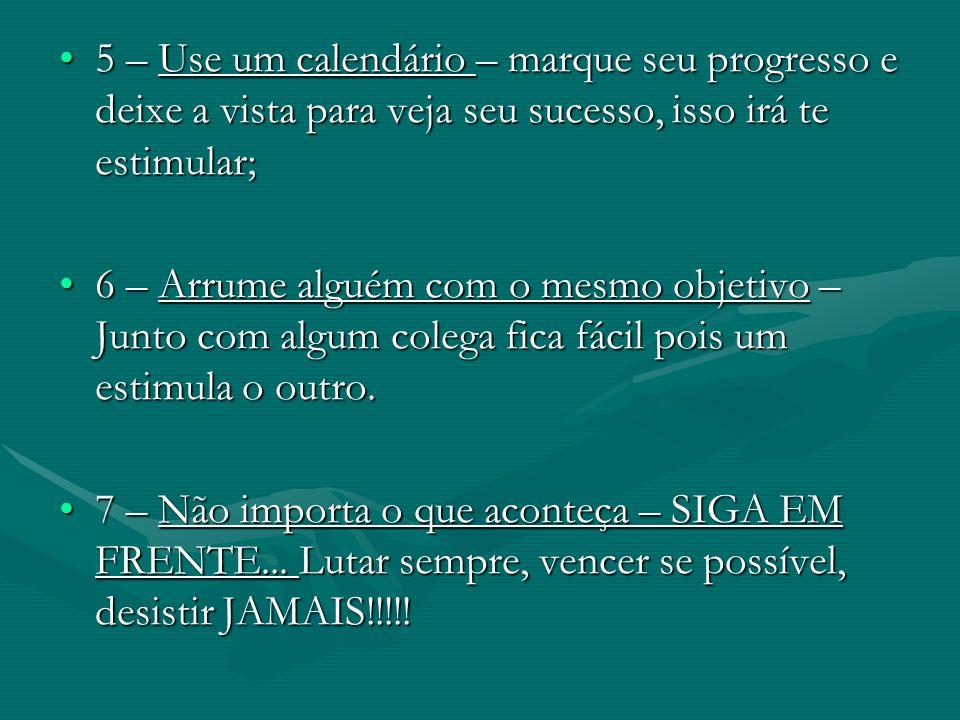 5 – Use um calendário – marque seu progresso e deixe a vista para veja seu sucesso, isso irá te estimular;