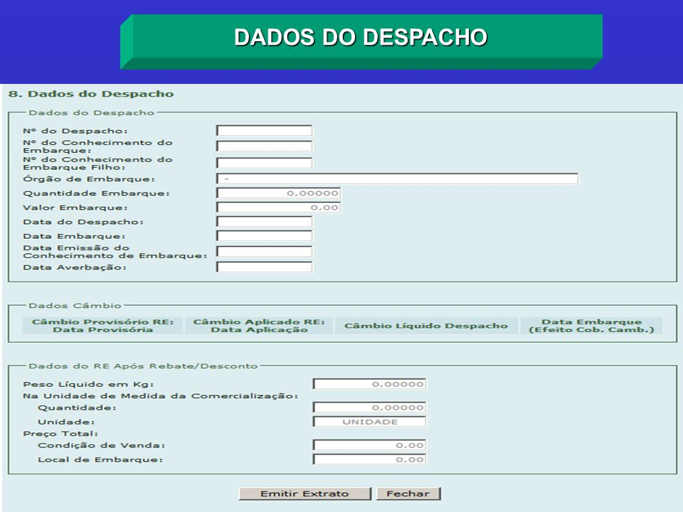 DADOS DO DESPACHO