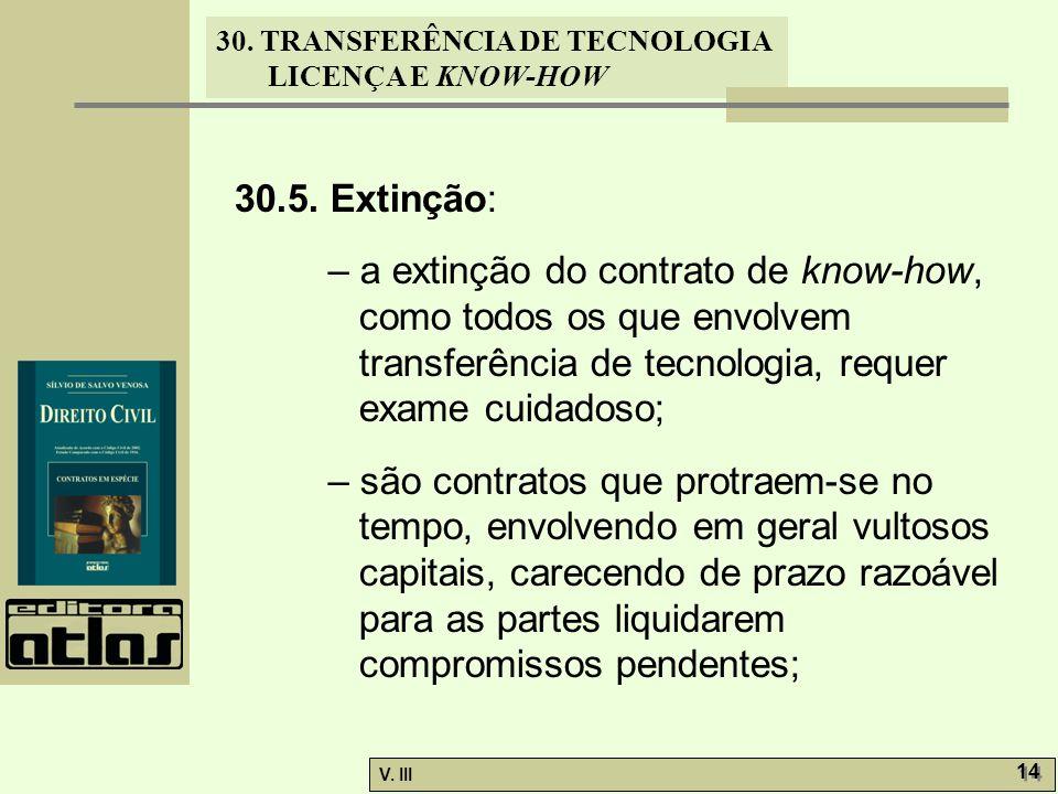 30.5. Extinção: – a extinção do contrato de know-how, como todos os que envolvem transferência de tecnologia, requer exame cuidadoso;