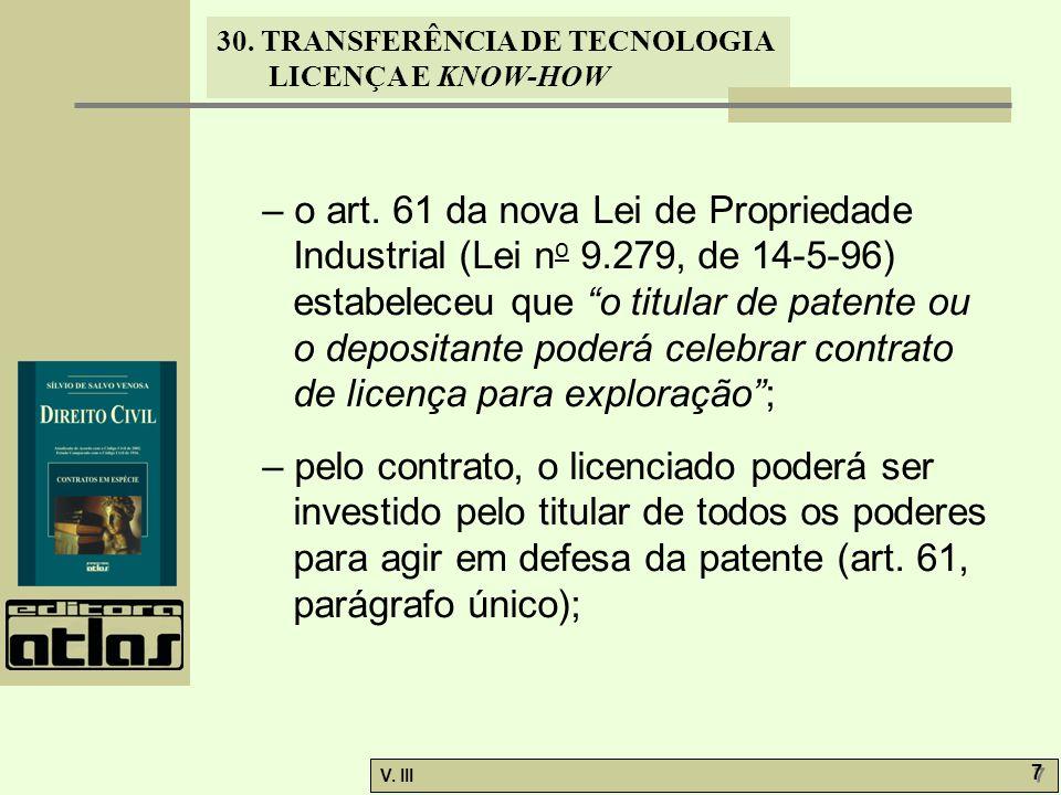 – o art. 61 da nova Lei de Propriedade Industrial (Lei no 9