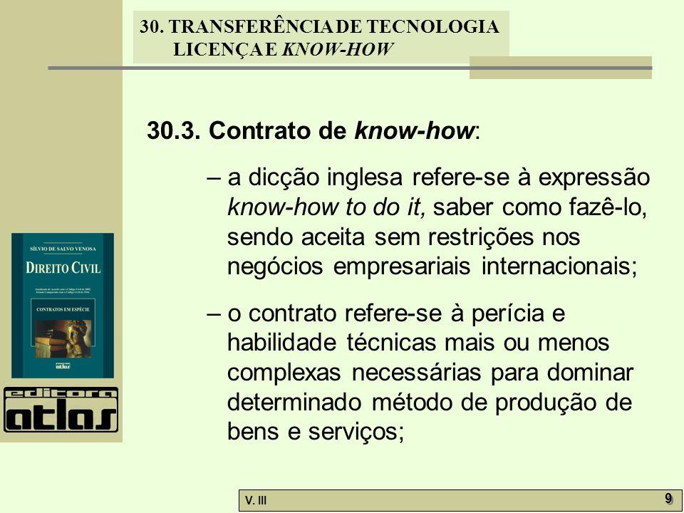 30.3. Contrato de know-how: