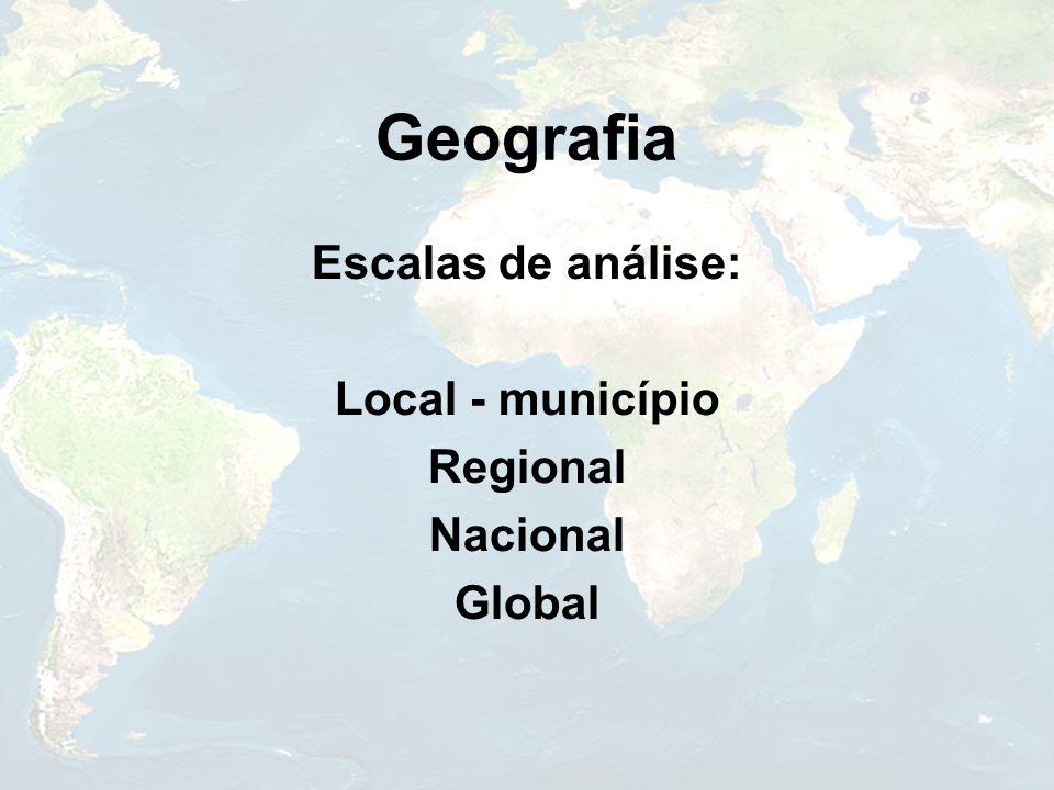 Geografia Escalas de análise: Local - município Regional Nacional
