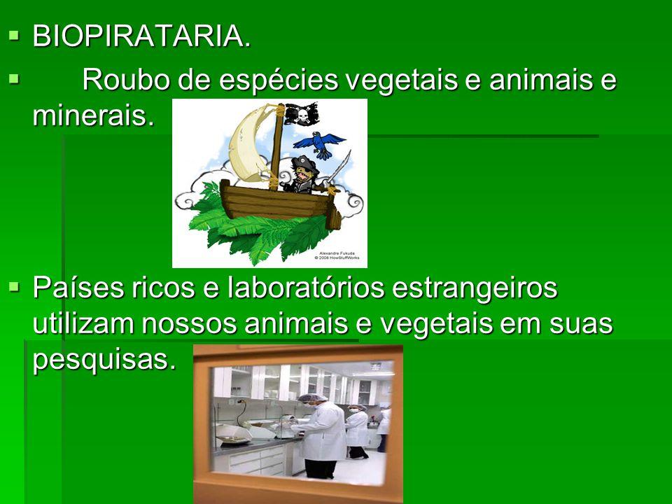 BIOPIRATARIA. Roubo de espécies vegetais e animais e minerais.